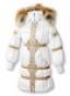 Длинное пуховое пальто белого цвета с золотой тесьмой