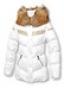 Белая пуховая куртка с вышивкой и мехом кролика