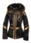 Женская куртка для горных лыж с мехом песца и расшитая вышивкой